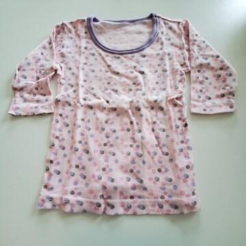 ピンクに水玉紫のふち長袖シャツ�@80