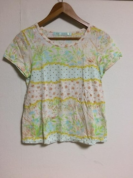 cherir la femme  リボンX花柄Tシャツ