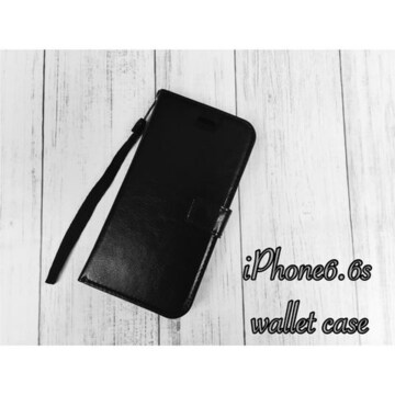 iPhone6 /6S 手帳型レザーケース 収納4携帯ケース  黒色