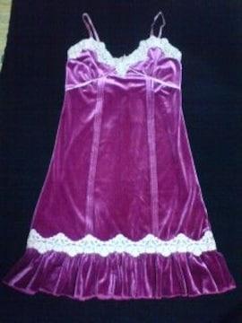 ベロア赤紫パーティーワンピ レース キラキラ ゴージャス 新品 激安 シェイクシェイク