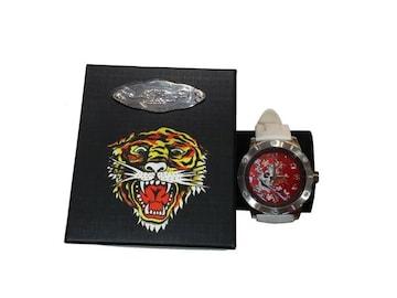 セール新品送込EdHardyエドハーディー★ビューティフルゴースト腕時計ホワイト