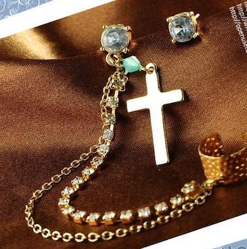 新品 Bijou Brigitte アンティーク調ストーン十字架カフスピアス