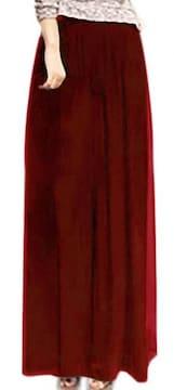 ゆったり シフォン★ スカーチョ★ワイド パンツ (Lサイズ赤