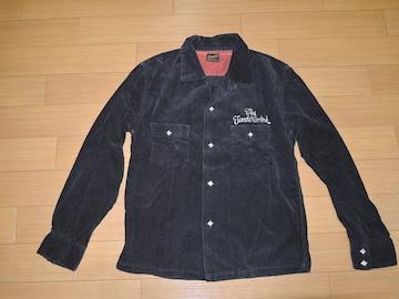 TENDERLOINテンダーロイン開襟コーデュロイシャツXS黒ロゴ刺繍