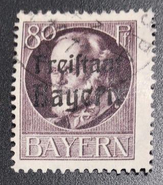 1919年ドイツ バイエルン切手80pf 使用済み