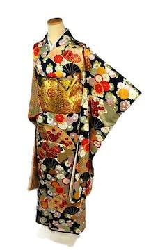 【最高級】美品 金彩 金駒シシュウ 扇面吉祥花文 振袖 T2226