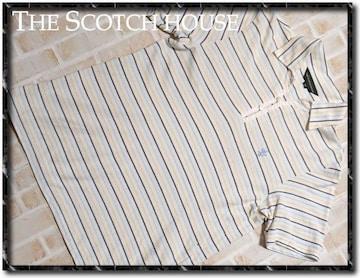 スコッチハウス 刺繍入りボーダー半袖ポロシャツ 白系
