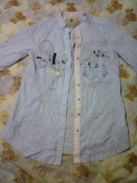 今期新作 Desigualインポート ストライプ ロングシャツ水色×白 刺繍 ビーズ