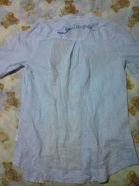 今期新作 Desigualインポート ストライプ ロングシャツ水色×白 刺繍 ビーズ < 女性ファッションの