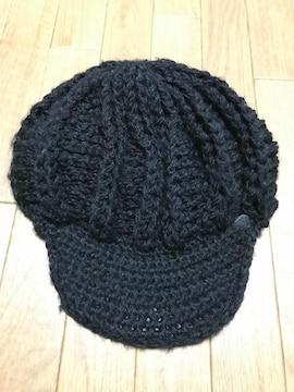 キャスケット ニット帽 黒