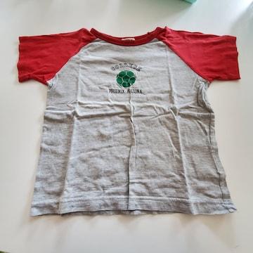 グレーに赤ふち袖、胸元緑のボール半袖Tシャツ110