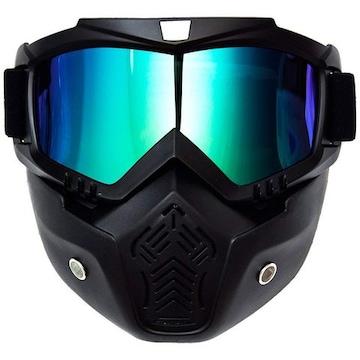 汎用 バイク ヘルメット フルフェイス マスク サバゲー ミラー青