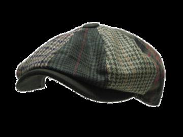 N179 Newsboy ウール 混 チェック ハンチング 帽子 Cap グリーン