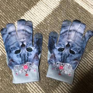 猫プリント手袋