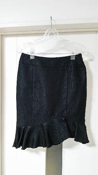 新品 ラストシーン 裾フリルスカート 膝丈スカート 黒 M