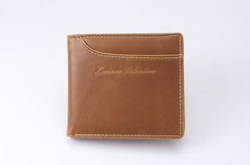 ルチアーノ バレンチノ二つ折り財布キャメル