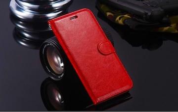iPhone7 8 手帳型ケース レザー 液晶フィルム フォトフレーム 赤