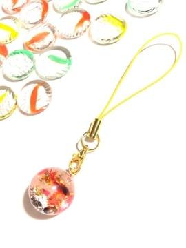 ★金魚の球体レジンストラップ 赤 黒 ゴールド キラキラ �E
