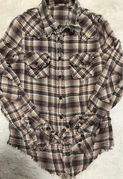 切りっぱなしダメージ加工チェックシャツ Mサイズ