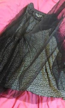 EMMEJAMES 黒プリーツチュールレース使いが素敵なロングスカートLL美品