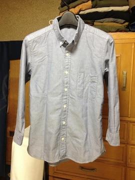 無印良品 七分袖シャツ XSサイズ グレー 水色 無地 長袖シャツ 古着