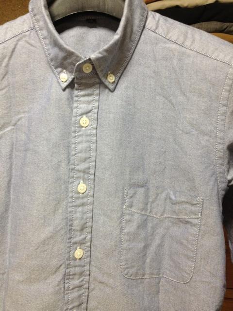 無印良品 七分袖シャツ XSサイズ グレー 水色 無地 長袖シャツ 古着 < ブランドの