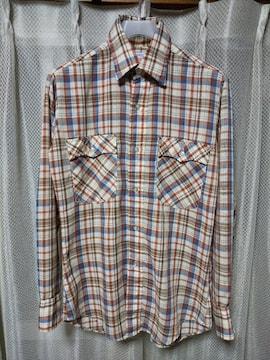 リーバイス 古着 vintage  長袖シャツ Sサイズ チェック柄 茶+青+赤 USA製 LVC