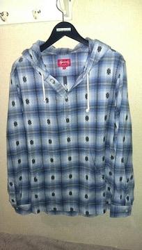 SUPREME Shadow Plaid Hooded Shirt M