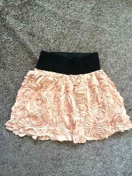 ベビーピンクローズフラワーフレアミニスカート薔薇花エレガント