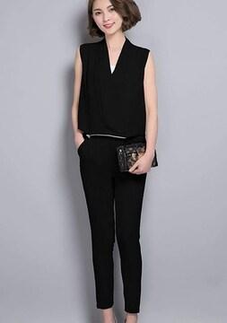 オールインワン パンツドレス (2XL寸・黒)