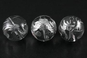 四神獣☆銀塗り青龍☆水晶12mmビーズ 1個