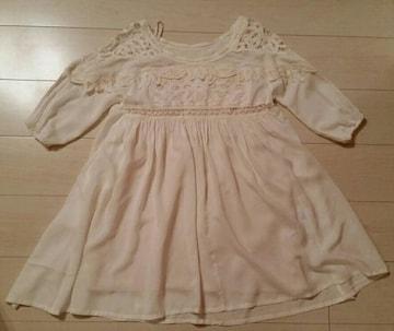 ●FREES SHOP●オフホワイト シフォン刺繍ワンピ/sizeM