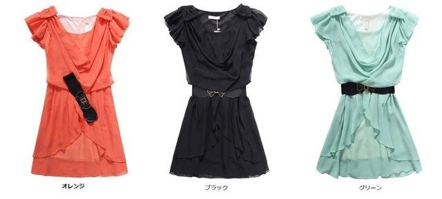 ☆スッキリとしたウエストライン♪上品シフォン/ベルト付ドレスワンピース/全4色 < 女性ファッションの