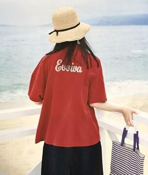 サニークラウズ後ビッグ刺繍〓オーバーサイズ赤ポロシャツ(M)新品〓