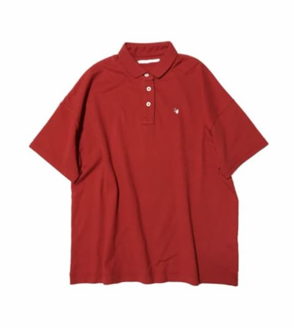 サニークラウズ後ビッグ刺繍〓オーバーサイズ赤ポロシャツ(M)新品〓 < ブランドの