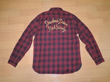 ワコマリア WACKO MARIA チェックシャツ S赤系 ステッチ刺繍