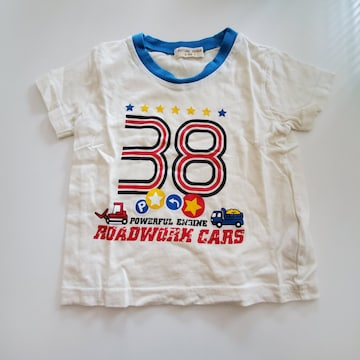 白に青いふち38もよう半袖Tシャツ�A90
