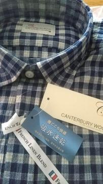 Mサイズ!ブランド品CANTERBURY WOOD吸汗速乾クレープ麻入り素材!半袖シャツ