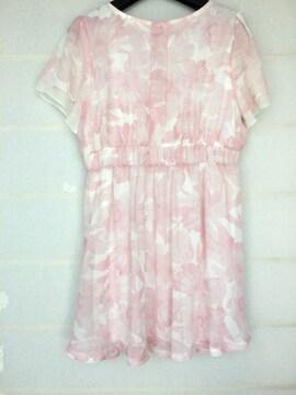 CECIL McBEE オトナ女子 半袖 ピンク プリント ワンピース M N2m