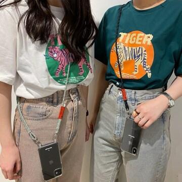 新品!!今期新作完売!!NICE CLAUP TIGERロゴプリントTシャツ