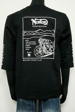 新品Norton213N1111 NORTONドローイング7分袖T トップス黒L