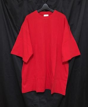 セール新品送込★着回し抜群♪ビッグシルエットTシャツ★2XLレッド赤無地