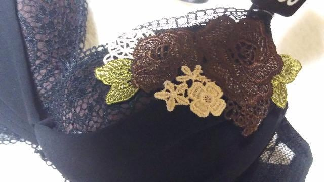 新品 シフォンギャザーケミカルブラショーツセット(C85・LL)ブラック×茶薔薇 < 女性ファッションの