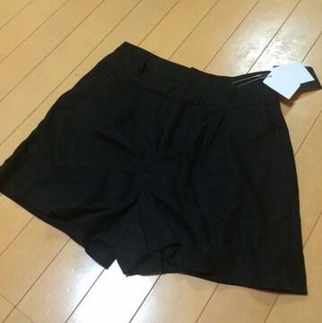 新品◆&byP&D◆麻リネン混キュロット38ブラックショートパンツ