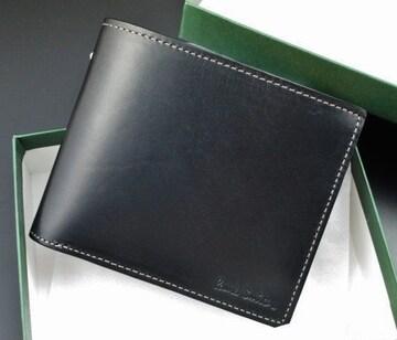 新品/箱付 ポールスミス 高級牛革使用 二つ折り財布 黒