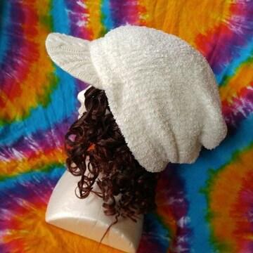 モフモフッ♪カワイィー(*σ>∀<)σつば付きニット帽子