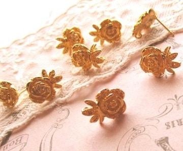 薔薇ピアス2個ゴールド