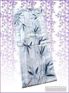 【和の志】夏の洗える着物◇絽Lサイズ◇白系・笹◇RKL-29