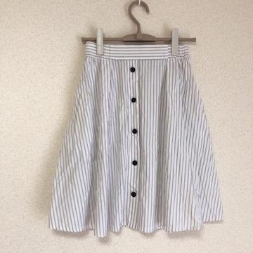 ザラ 飾りボタン付きストライプスカート ZARA●