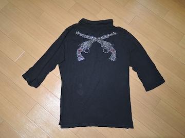 ロアーroar2丁拳銃7分丈ポロシャツ2黒ラインストーン
